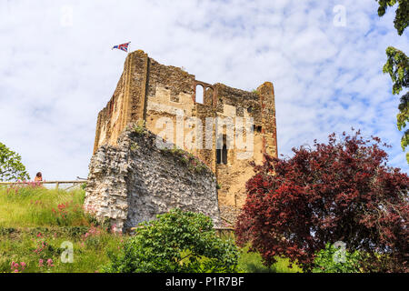Castle keep / Great Tower of Norman fortification, Guildford Castle ruins in central Guildford, county town of Surrey, southeast England, UK in summer - Stock Photo