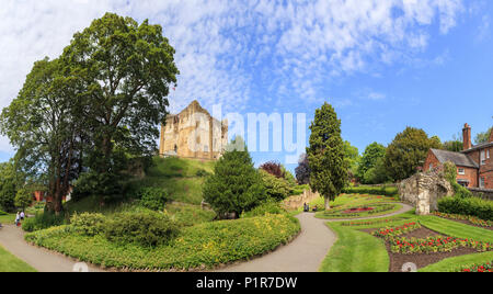 Castle keep / Great Tower of Guildford Castle ruins in central Guildford and well-tended park gardens, county town of Surrey, southeast England, UK - Stock Photo
