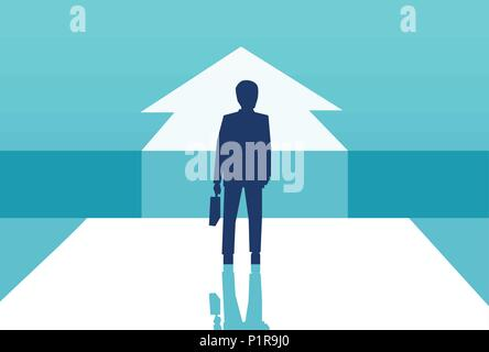 Vector concept picture of businessman silhouette standing in front of arrow choosing future career. - Stock Photo