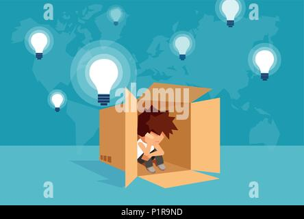 Concept vector illustration of kid sitting alone in box and thinking on problem. - Stock Photo