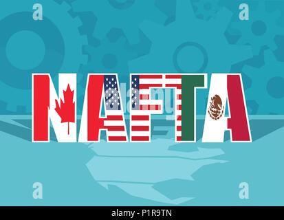 Colorful flat design of abbreviation for North American Free Trade Agreement. - Stock Photo