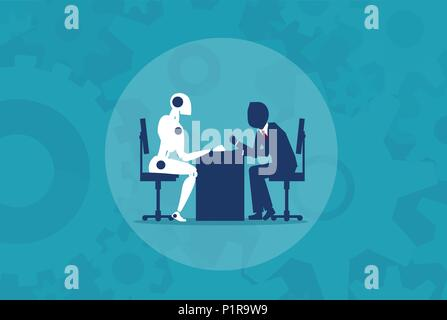 Humans vs Robots. Business illustration flat style vector - Stock Photo
