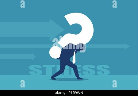 Vector of a business man carrying a big question mark on his back - Stock Photo