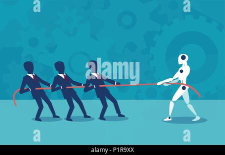 Vector design of people pulling rope with robot fighting with artificial intelligence. - Stock Photo