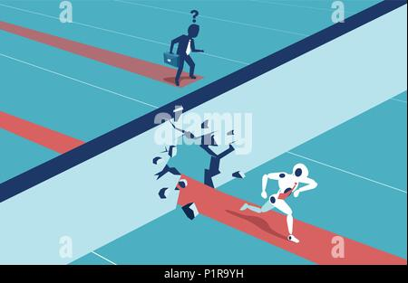 Humans vs Robots. Business competition. Illustration flat style vector - Stock Photo