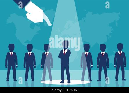 Vector style of crop corporate boss choosing one qualified man from row of candidates - Stock Photo