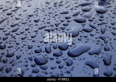Raindrops on blue bonnet of a car|metal |wet - Stock Photo