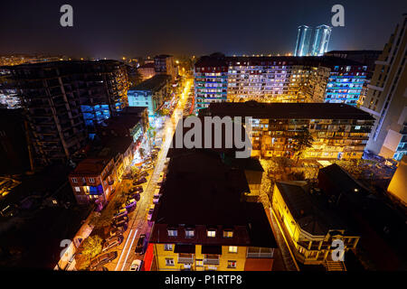 BATUMI, GEORGIA – OCTOBER 3, 2017: Night streets of city with illumination. View from the roof of skyscraper. - Stock Photo
