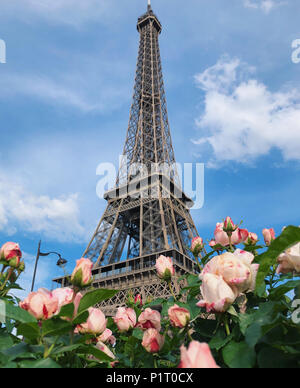 Paris, France. 27th May, 2018. The Eiffel tower is seen in the background, while some beautiful pink roses are seen in the foreground. Credit: Alexander Pohl/Pacific Press/Alamy Live News - Stock Photo