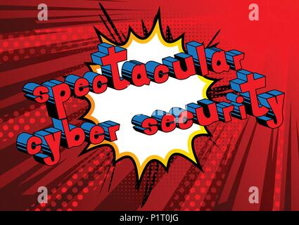 Spectacular Cyber Security - Comic book style word on abstract background. - Stock Photo