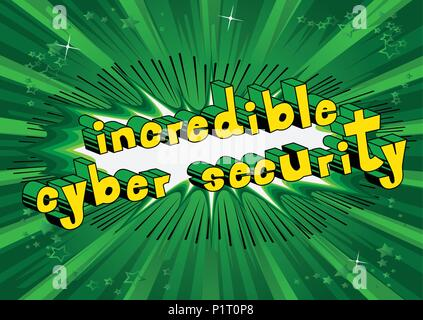 Incredible Cyber Security - Comic book style word on abstract background. - Stock Photo