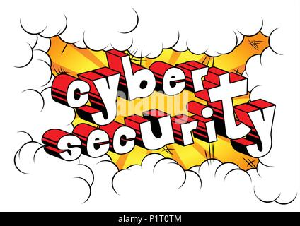 Cyber Security - Comic book style word on abstract background. - Stock Photo