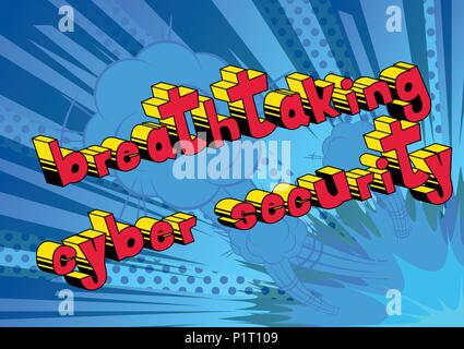Breathtaking Cyber Security - Comic book style word on abstract background. - Stock Photo
