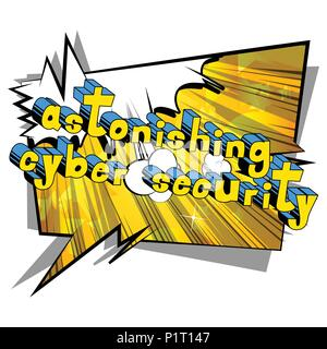 Astonishing Cyber Security - Comic book style word on abstract background. - Stock Photo