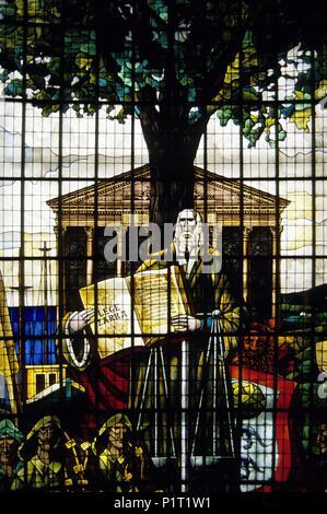 Gernika, 'Casa de Juntas' (basque parliament; stianed glass window with basque historical references. - Stock Photo