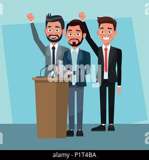 Politician speaking with microphone - Stock Photo