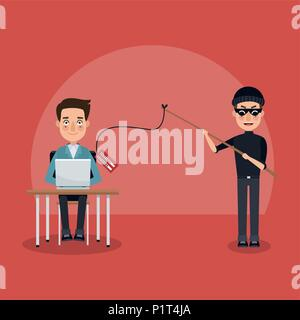 Hacker and security system - Stock Photo