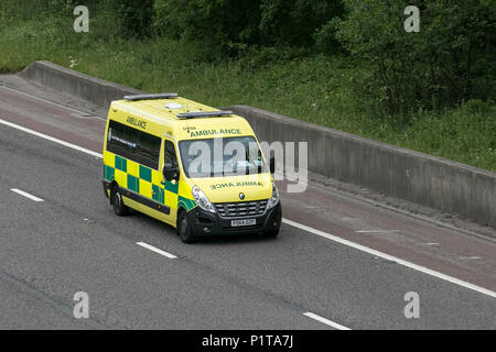 UK Vehicular traffic, transport, 999 emergency vehicles responding, responders north-bound on the 3 lane M6 motorway highway. - Stock Photo