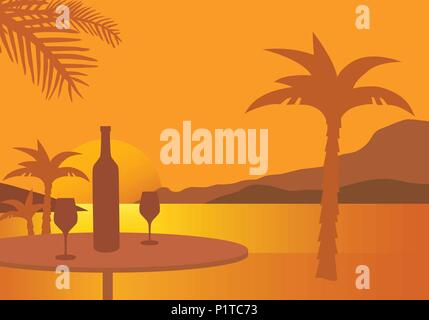 Table with wine bottle and two glasses, on a beach with palm trees, under an orange sky with the setting sun - vector - Stock Photo