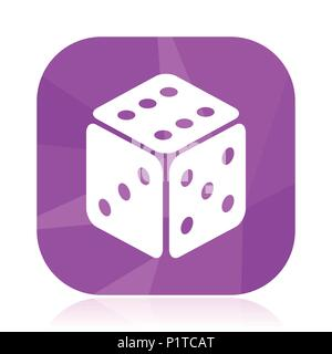 Game flat vector icon. Dice violet web button. Casino internet square sign. Bet modern design symbol in eps 10. - Stock Photo