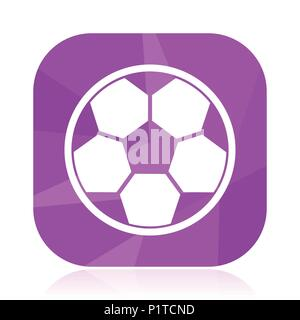 Soccer flat vector icon. Football violet web button. Ball internet square sign. Sport modern design symbol in eps 10. - Stock Photo