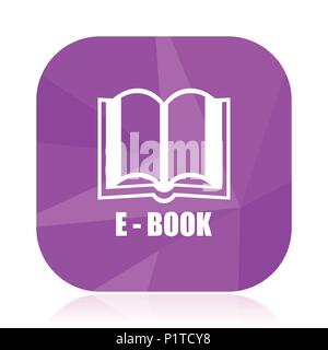 Book flat vector icon.  violet web button.  internet square sign.  modern design symbol in eps 10. - Stock Photo