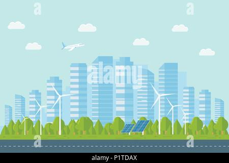 Modern urban landscape with skyscrapers. Street, highway with cars, large buildings on a background. City concept with suburban life. Flat Vector Illu - Stock Photo