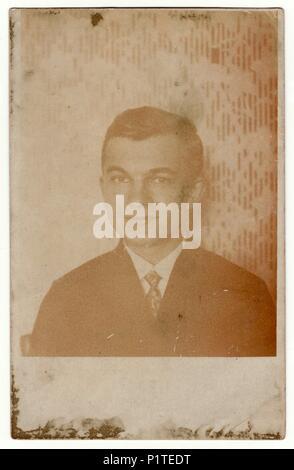 THE CZECHOSLOVAK REPUBLIC - CIRCA 1930s: Vintage photo shows man - portrait. Retro black & white phortgraphy. - Stock Photo