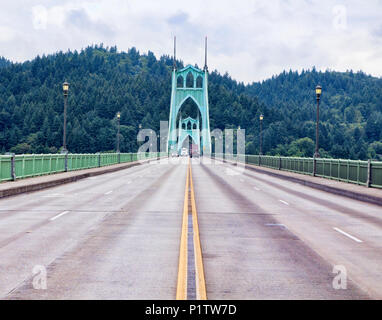 Middle of the road view of the St Johns Bridge, Portland Oregon, USA - Stock Photo