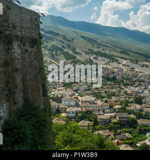 View from the castle in Gjirokaster in Albania. Its old town is Ottoman and a Unesco World Heritage site. - Stock Photo