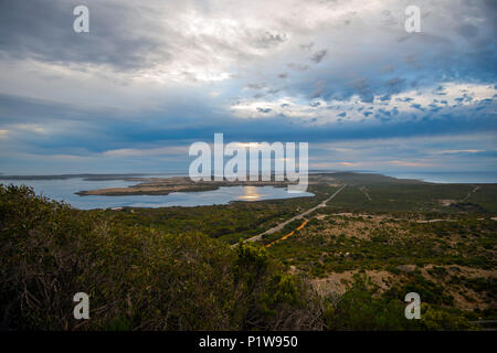Flinders Lookout on Kangaroo Island off the coast of South Australia. High ground used by Royal Navy Capt. Matthew Flinders to map coast in 1801 - Stock Photo