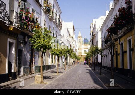 Barrio / La Viña quarter and La Palma church at the background. - Stock Photo