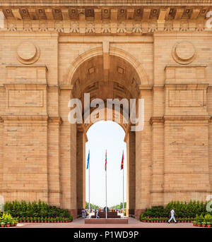 NEW DELHI, INDIA - CIRCA APRIL 2017: Closeup shot of India Gate. India Gate is a war memorial for soldiers of the British Indian Army who died during  - Stock Photo