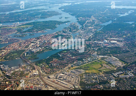 STOCKHOLM, SWEDEN - JUNE 1, 2018: Aerial shot over Stockholm with landmarks Stockholm Globe and Tele2 Arena and Sodermalm out towards the archipelago, - Stock Photo