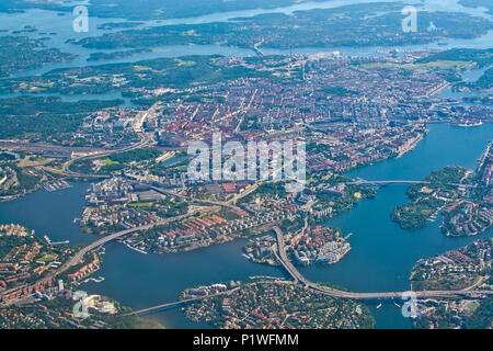 STOCKHOLM, SWEDEN - JUNE 1, 2018: Aerial shot over Stockholm, Sodermalm, Old Town island Essingeleden and Djurgarden, during inflight to Arlanda airpo - Stock Photo