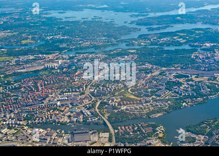 STOCKHOLM, SWEDEN - JUNE 1, 2018: Aerial shot over Solna and Friend's Arena during inflight to Arlanda airport on a sunny day on June 1, 20108 in Stoc - Stock Photo