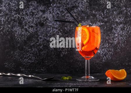 Classic Italian Aperol Spritz cocktail, selective focus. - Stock Photo