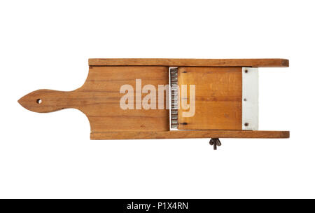 Kitchen concept.  Vintage wooden slicer isolated on white background - Stock Photo