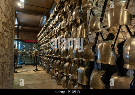 Collections of the Royal Armouries including historic arms and exhibited inside the White Tower in Tower of London, England, UK - Stock Photo
