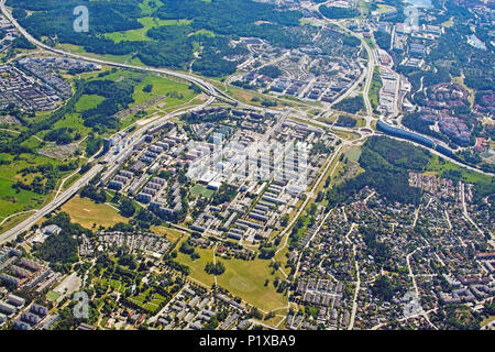 STOCKHOLM, SWEDEN - JUNE 1, 2018: Aerial shot Rinkeby Stockholm, one of the areas of the million programme of the 70'ies, mentioned as 'no go zones',  - Stock Photo