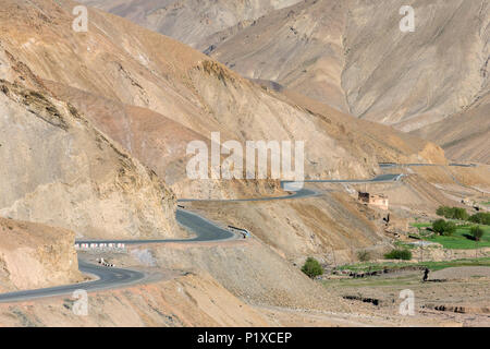 View from the Fotula Pass on the way between Srinagar and Leh in Jammu and Kashmir, India - Stock Photo