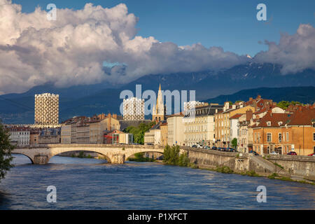 Grenoble. Cityscape image of Grenoble, France during sunset. - Stock Photo