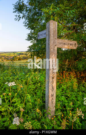 Cotswold Way footpath sign on Dover's Hill near start or finish of the National Trail at Chipping Campden, Cotswolds, Gloucestershire, England, UK - Stock Photo