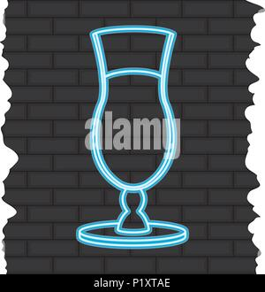 cocktail liquor neon line alcohol - Stock Photo