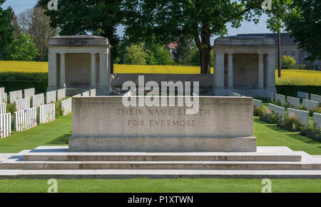 Stone of Remembrance at Delville Wood Cemetery, Somme, France - Stock Photo
