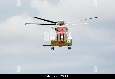 HM Coastguard search and rescue helicopter, Caernarfon airport, Gwynedd, North Wales - Stock Photo