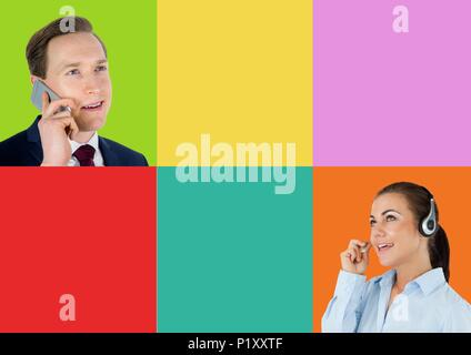 Call Center customer service person and client in colorful square sections - Stock Photo