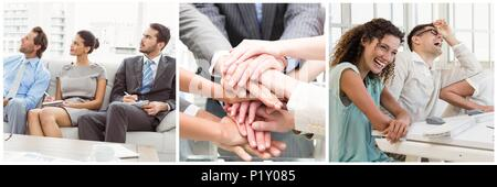 Teamwork business meeting collage - Stock Photo