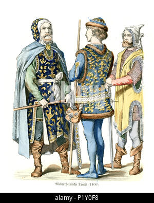 Vintage engraving of History of Fashion, Medieval Germany 15th Century, Lower Rhine - Stock Photo
