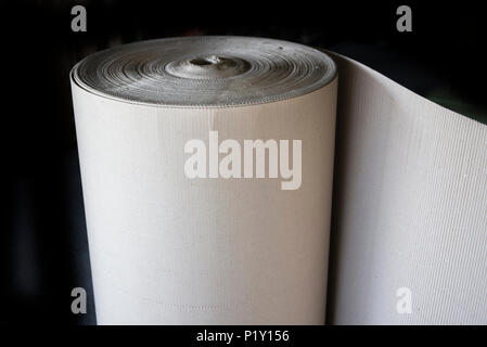 Roll Of Wave Craft Paper Or Brown Corrugated Cardboard Of Packaging